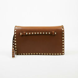 Valentino Garavani $1795 Brown Leather Gold Tone