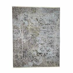 8'x10'1 Hand-knotted Silk With Textured Wool Transitional Rug R40857