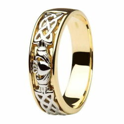 Gents Two Tone Claddagh Wedding Ring Made in Ireland 14k Gold 14IC12