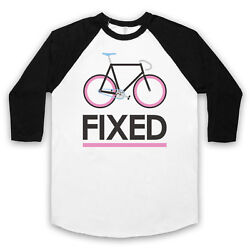 Fixed Gear Bicycle Fixie Retro Style Bike Riding Cycle Unisex 3/4 Baseball Tee