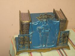 Vintage 1960's Israel Enamel On Metal Bookend With 2 Silver Covered Prayer Book