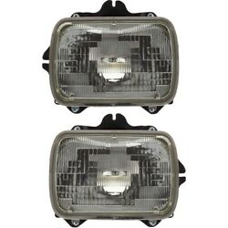 Halogen Headlight Set For 1984-1995 Toyota Pickup Left And Right W/ Bulbs Pair