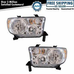 Halogen Headlight Lamp Assembly Pair Lh And Rh Sides For Toyota Tundra Pickup New