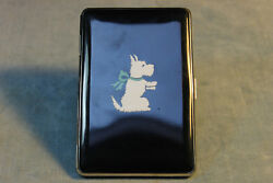 ART DECO VINTAGE SCOTTIE SCOTTISH TERRIER BLACK METAL WHITE DOG CIGARETTE CASE
