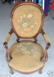 Early1900's Antique Needlepoint Queen Anne Chair, Needs Reuphols, Great Bones