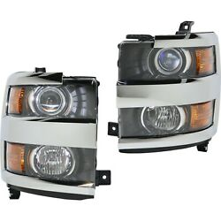 Headlight For 2015-2017 Chevrolet Silverado 3500 Hd Pair Left And Right Side