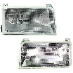 Halogen Headlight Set For 1992-1996 Ford F-150 Left And Right W/ Bulbs Pair Capa