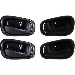 Black Inside Interior Door Handle Set Pair Left And Right For 98-02 Corolla Prizm