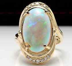 5.35Ct Natural Ethiopian Opal and Diamond 14K Solid Yellow Gold Ring