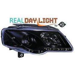 Lhd Projector Led Drl Headlights Pair Clear Black For Vw Passat Saloon 05-10