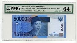Indonesia 50,000 Rupiah, 2005, P-145, Solid S/n 888888, Pmg 64 Choice Unc