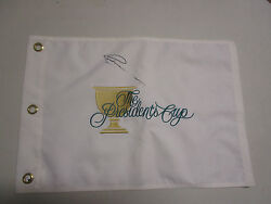 Greg Norman Hand Signed Presidents Cup White Flag Unframed + Photo Proof C.o.a