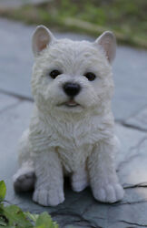 White Terrier Dog Puppy Statue Home Decor Figure Life Like Details 87771y NEW