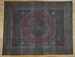 9and0396x14and039 Vintage Look Mamluk Zero Pile Shaved Low Worn Wool Rug R41325