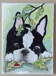 ACEO original painting Boston Terrier puppy mini card