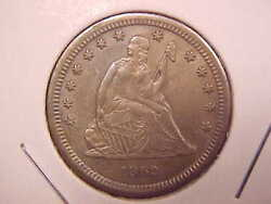 1862 S Seated Liberty Quarter - Scratch On Obverse - Au - See Pics - X3063