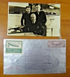 Very Rare USS Akron Zeppelin Flight Flown Cover w 2 Pieces of Zeppelin Attached