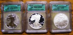 2006 20th Anniversary Silver Eagle Set 3pc Icg Certified Pf 69 Deep Cameo