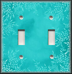 Metal Light Switch Plate Cover Watercolor Art Decor White Floral Turquoise Blue