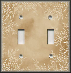 Metal Light Switch Plate Cover Watercolor Art Decor White Floral Tan Home Decor