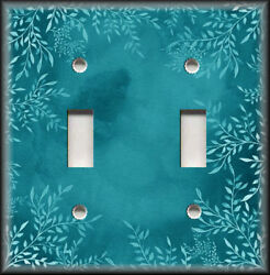 Metal Light Switch Plate Cover Watercolor Art Decor White Floral Teal Home Decor