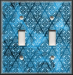 Metal Light Switch Plate Cover Watercolor Art Damask Design Blue Home Decor