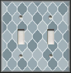 Metal Light Switch Plate Cover Ombre Decor Moroccan Design Blue Grey Shades