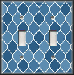 Metal Light Switch Plate Cover Ombre Decor Moroccan Design Blue Shades