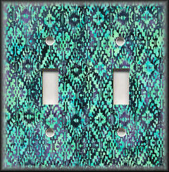 Metal Light Switch Plate Cover Abstract Art Batik Tribal Design Turquoise Blue