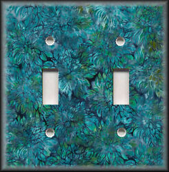 Metal Light Switch Plate Cover Boho Home Decor Batik Floral Decor Teal Green