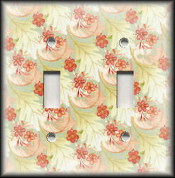 Metal Light Switch Plate Cover Nature Home Decor Floral With Leaves 02