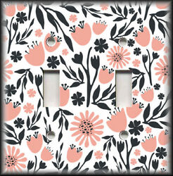 Metal Light Switch Plate Cover Black Pink Floral Home Decor Flowers Decor 02