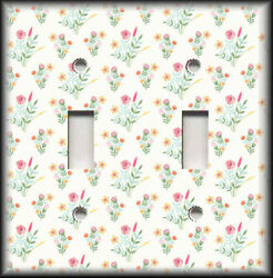 Metal Light Switch Plate Cover Wildflowers On White Background Floral Decor