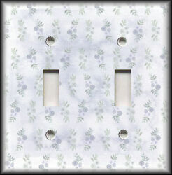 Metal Light Switch Plate Cover Blue Grey Floral Flowers Art Home Decor