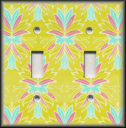 Metal Light Switch Plate Cover Lime Pink And Blue Design Home Decor Wallplates