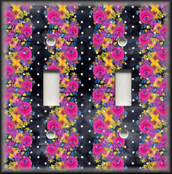 Metal Light Switch Plate Cover Gypsy Rose Home Decor Bright Floral On Black Dots