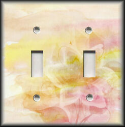 Metal Light Switch Plate Cover Shabby Chic Decor Golden Yellow Pink Floral Decor