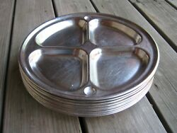 14 Pcs Vintage Compartment Food Serving Tray Stainless Metal Lunch Dinner Plate