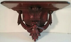 Victorian Walnut Wall Shelving Shelf Carved Grand Lion W/ Draping Not A Repro