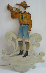 Folk Art 1939 Boy Scout Cut Out Scroll Work Painted Gorgeous Canadian Montreal
