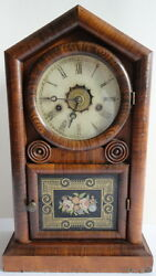 New Haven Gothic Gem Cottage Clock Mantle Shelf Working 8 Day Chime C.1880's