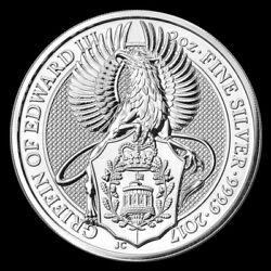 2017 2 Oz Queenand039s Beast Griffin Of Edward Iii Silver Gem Bu Coin In Capsule