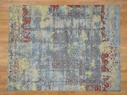 7and0398x9and03910 Hand-knotted Silk With Oxidized Wool Broken Design Rug R41299