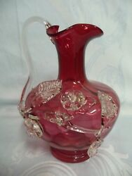 Antique English Pitcher By Stevens And Williams, Cranberry W/applied Clear Handle