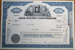 And039jack Eckerd Corporationand039 1971 Drug Store / Pharmacy Stock Certificate - Blue