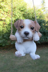 Jack Russell  Puppy Dog Hanging Swing Figurine Tree Ornament Garden Resin 5