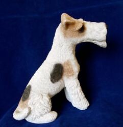 LRG Stone Resin Classic Critters Wire Fox Terrier Dog Figurine Doorstop Heavy 84