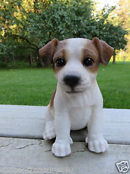JACK RUSSELL TERRIER PUPPY SITTING DOG FIGURINE STATUE RESIN PET 6.5