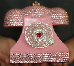Timmy Woods Crystal Marilyn Monroe Pink Telephone Phone Purse Clutch