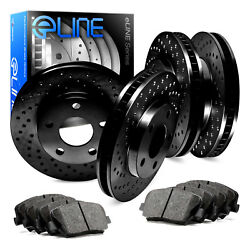For 2008-2009 Volvo S60 Front Rear eLine Black Drilled Brake Rotors+Ceramic Pads